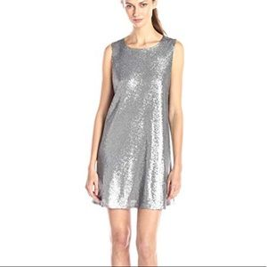 Jack BB Dakota Silver Sequin Holiday Swing Dress M